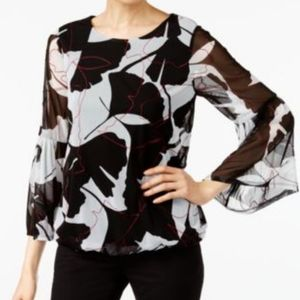 Alfani Black & Ivory Floral Print Bell Sleeve Top